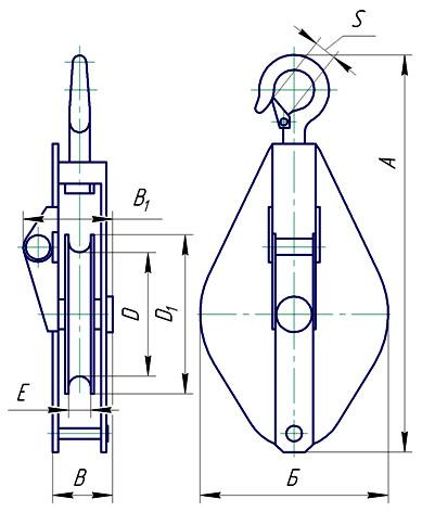 Блок монтажный однорольный (с крюком)